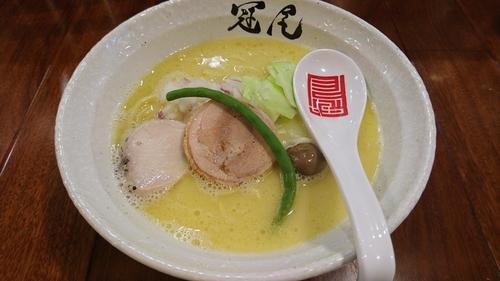 「純白湯らぁめん、替え玉」@らぁめん冠尾 恵比寿西店の写真