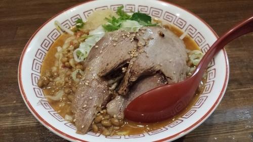 「⑩ピリ辛納豆ラーメン(並)800円」@ラーメンアキラの写真