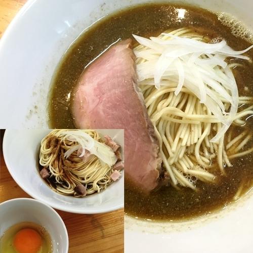 「煮干ソバ 醤油+和え玉+生玉子」@煮干中華ソバ イチカワの写真