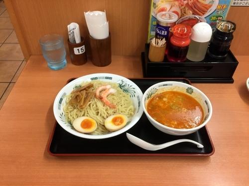 「エビ辛豚骨つけ麺」@日高屋 祖師ヶ谷大蔵店の写真