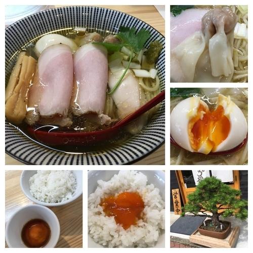 「(松)特級中華そば 白醤油 900円+濃厚卵黄のうに醤油ご飯」@自家製麺 くろ松の写真
