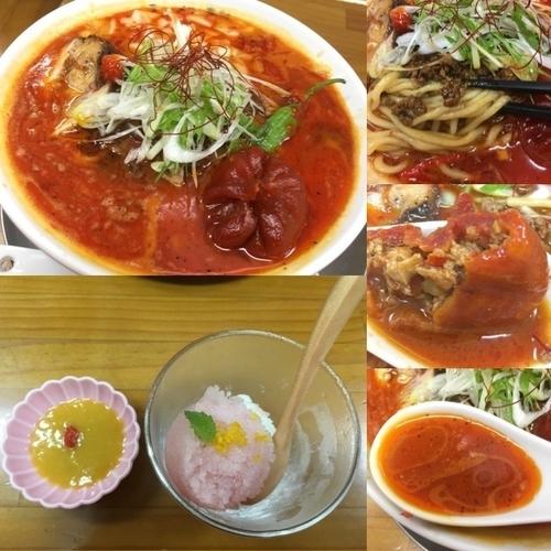 「炎帝 辛さマシ +餃子、桃ソルベ」@ラーメン専科 竹末食堂の写真