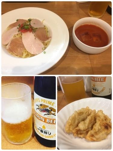 「トマトつけ麺、揚げ餃子、ビール中瓶」@MEN-YA DAISUKEの写真