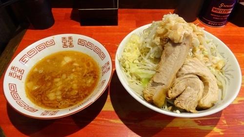 「小つけ麺 エビ味(850円)ニンニクアブラ」@ラーメン二郎 会津若松駅前店の写真