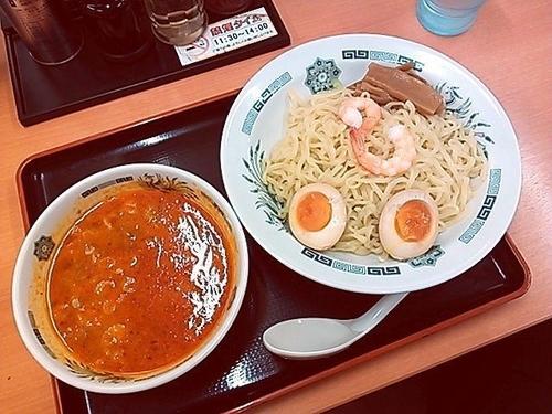 「えび辛とんこつつけ麺」@日高屋 西武新宿前店の写真