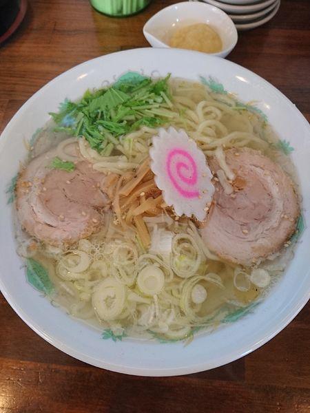 「塩ラーメン 648円 ニンニク(ラーパス)」@ラーメン雅の写真