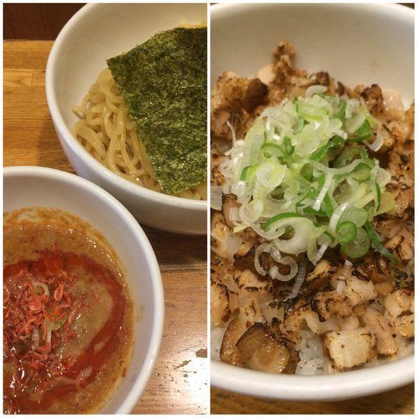 「濃厚ニボつけ麺(海老辛)+炙りチャーシュー丼」@煮干しそば 虎愼の写真