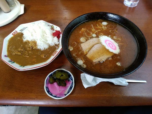 「ラーメンセット②番(味噌ラーメン+カレーライス)710円」@ニコニコ亭の写真