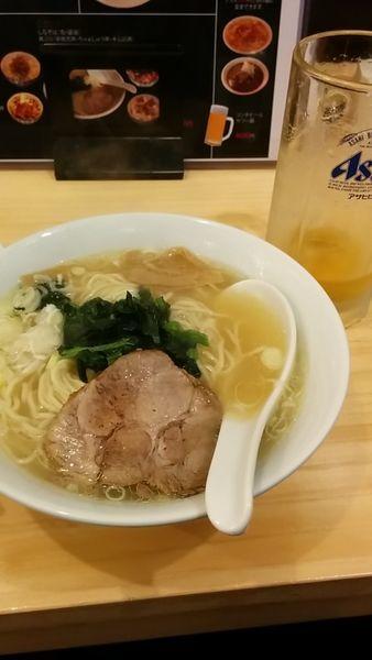 「支那そば 塩  生ビール  水餃子」@麺酒場 季の写真