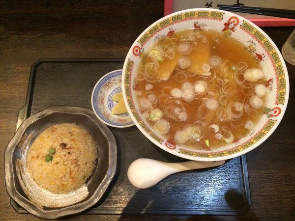 「中華そば(釜石ラーメン)+半チャーハン」@新華園の写真