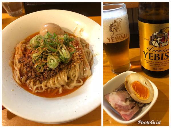 「担担麺 (汁なし) ¥850 with エビス中瓶 ¥600」@麺庵ちとせの写真