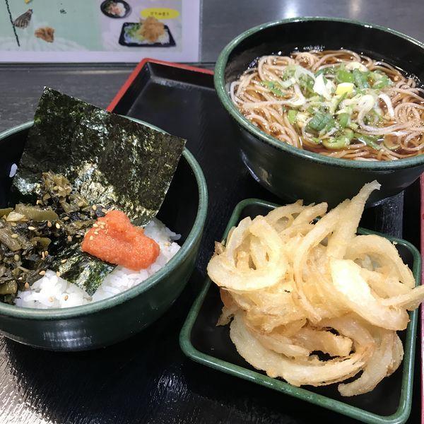 「朝食セット(高菜明太ごはん)(¥360)+かき揚げ(クーポン」@ゆで太郎 南青山一丁目店の写真