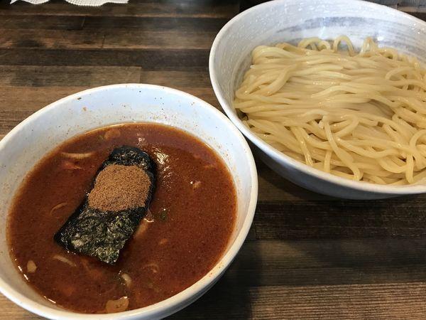 「豚骨魚介つけ麺 800円 辛味大 50円」@麺屋 奏の写真