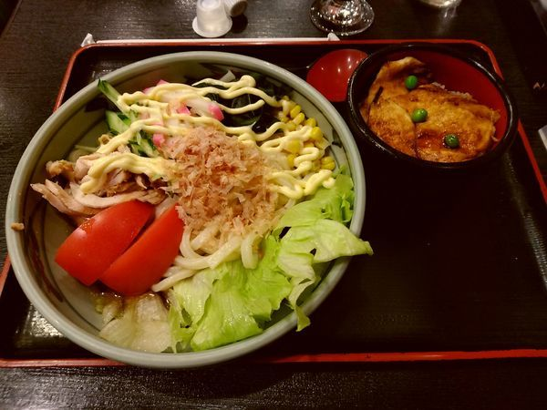 「サラダうどんセット(並盛)950円」@登利平 高崎モントレー店の写真