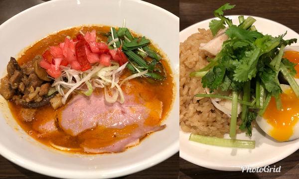 「八咫烏式担々麺&キノコご飯蒸し鶏パクチー添え」@八咫烏の写真