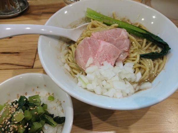 「【限定】ぶっかけ煮干味噌800円+野沢菜ご飯150円」@らーめん カッパハウスの写真