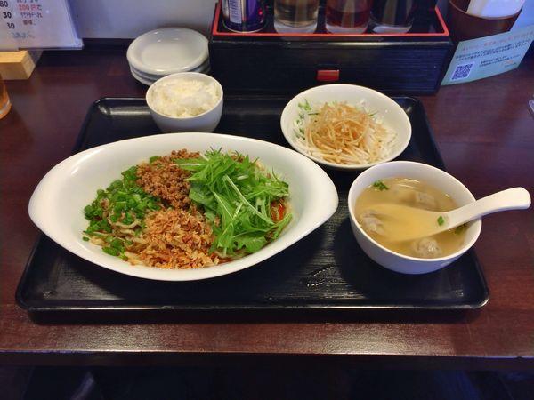 「汁なし担々麺定食 780円」@松戸香房の写真