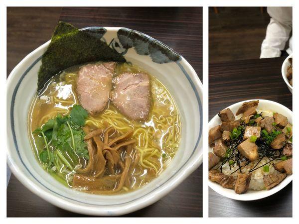 「中華そば750円+チャーシュー丼250円」@中華そば 一富士の写真