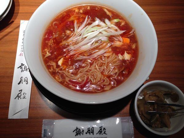 「トマトサンラー麺セット(ザーサイ・杏仁豆腐付)」@謝朋殿 錦糸町丸井店の写真