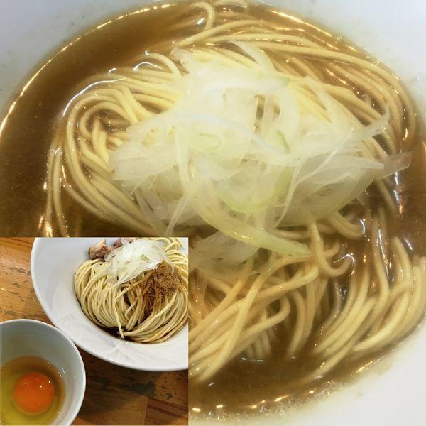 「塩ソバ(かけ)+和え玉(醤油)+生玉子」@煮干中華ソバ イチカワの写真