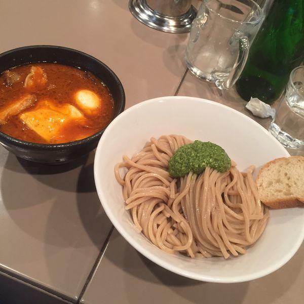 「海老トマトつけ麺全部入り+モッツァレラチーズ」@つけ麺 五ノ神製作所の写真