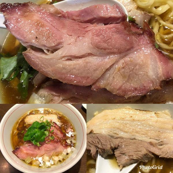 「地鶏中華そば(醤油/手もみ麺)¥800 w/ 釜焼き¥200」@麺や 虎徹の写真
