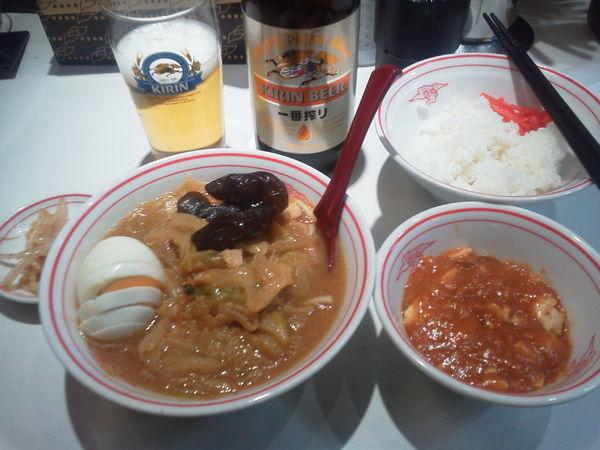 「ビールセット910+定食180=1090円」@蒙古タンメン 中本 西池袋店の写真