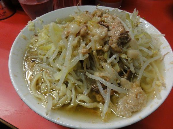 「ラーメン600円 麺硬め ニンニク 脂」@ラーメン二郎 三田本店の写真