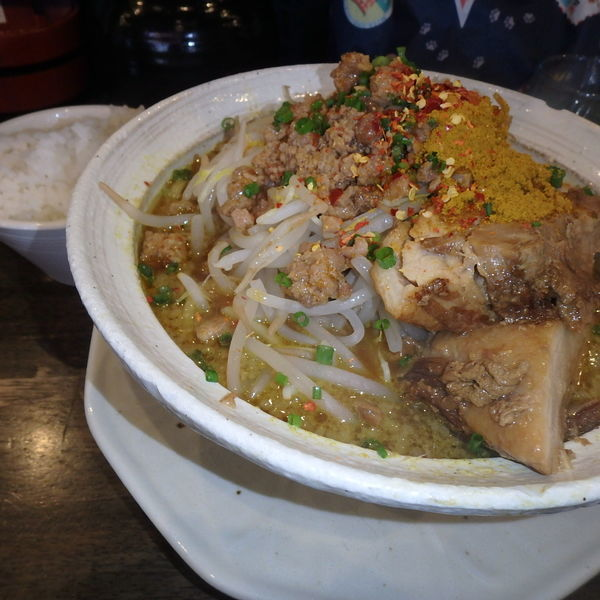「カレー二郎(950円)(背脂)、ライス小(120円)」@麺屋 GOO ~noodle house~の写真