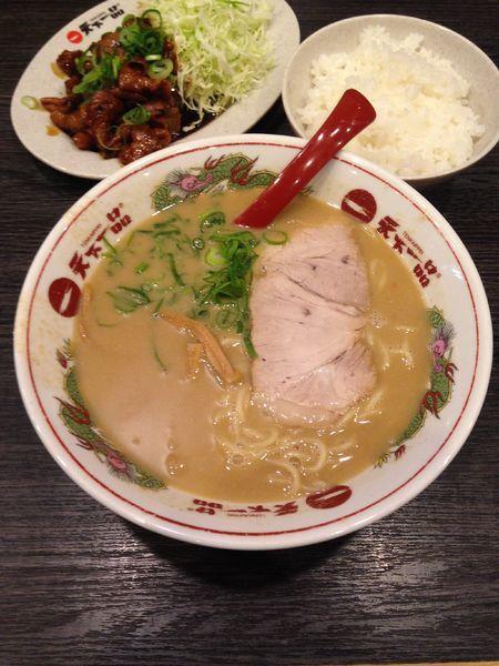 「もつ焼き定食 ラーメンセット 1100円」@天下一品 甲府向町店の写真