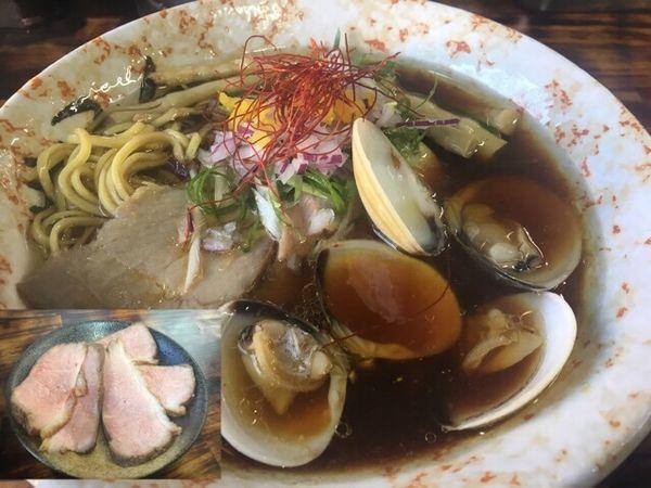 「貝そば750円(醤油)、鴨ロース増し250円」@麺屋 裕の写真