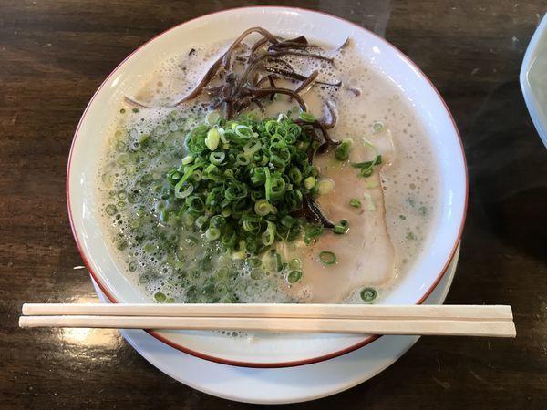 「長浜ラーメン(かためん、+青ネギ)」@長浜ラーメン 松吉の写真