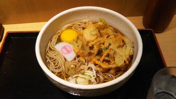 「かき揚げ天玉そば 麺大盛」@そばいち 新宿店の写真