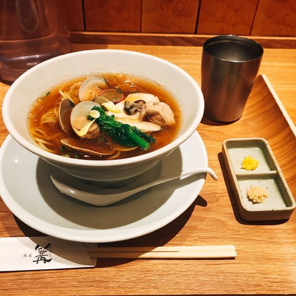 「蛤と牡蠣のSOBA(醤油)」@銀座 篝 ルクア大阪店の写真