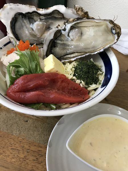 「活 殻牡蠣和え蕎麦 (バター入り)S」@MENYA 食い味の道有楽の写真
