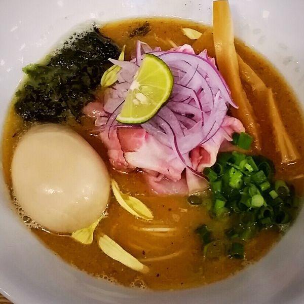 「味玉金煮干しそば 900円+辛挽き肉替え玉 250円他」@麺's キッチン RIRIの写真