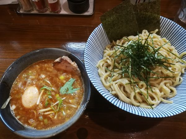 「全部入り辛つけ麺(大盛、1辛、冷盛)」@麺屋 やま昇 住吉店の写真