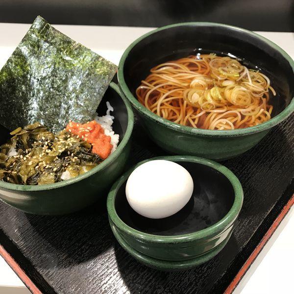 「朝食セット(高菜明太ごはん)(¥360)+生玉子(クーポン)」@ゆで太郎 三田3丁目店の写真