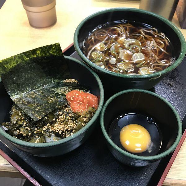 「朝食セット(高菜明太ごはん)(¥360)+生玉子(クーポン)」@ゆで太郎 高輪店の写真