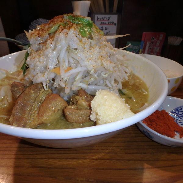 「カレーまぜ三郎汁あり(野菜ニンニク一味)、半ライス(100円」@まぜまぜムタヒロの写真