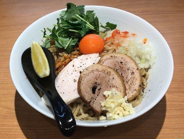 「まぜそば(鶏ベース)大盛+ニンニク+追い飯半ライス」@MOJA☆MOJAの写真