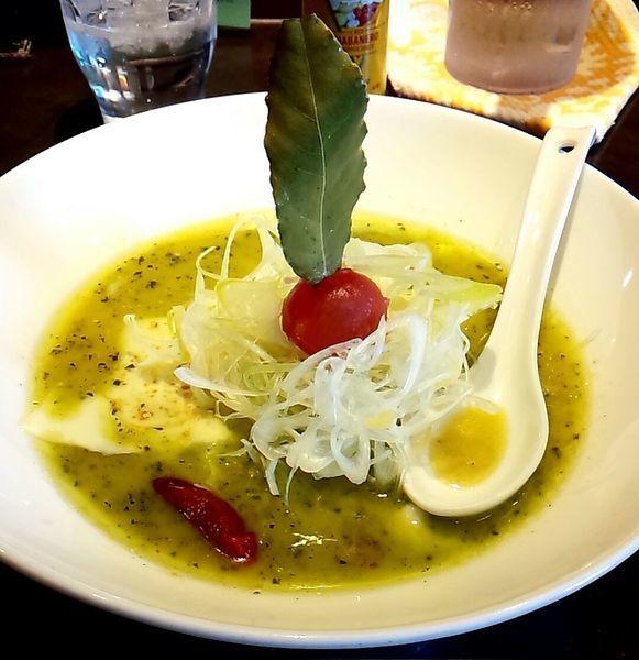 「バジルdeグリーン味噌(チーズプラス)」@麺 藏藏の写真