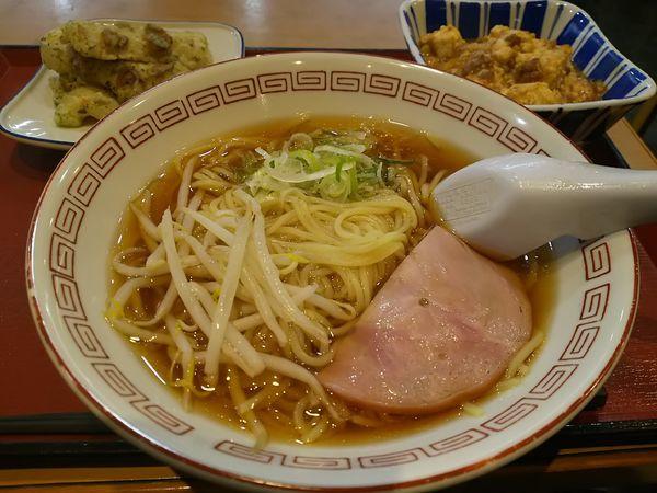 「食堂のラーメン +麻婆豆腐(大)+ちくわ磯辺」@まいどおおきに食堂 豊科食堂の写真