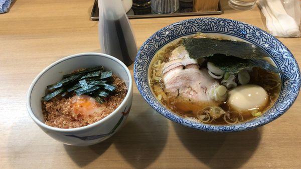 「特製中華そばA¥970+多賀野丼¥200」@多賀野の写真