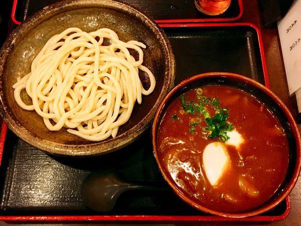 「☆牛カレーつけうどんに味玉☆」@こんぴら茶屋の写真