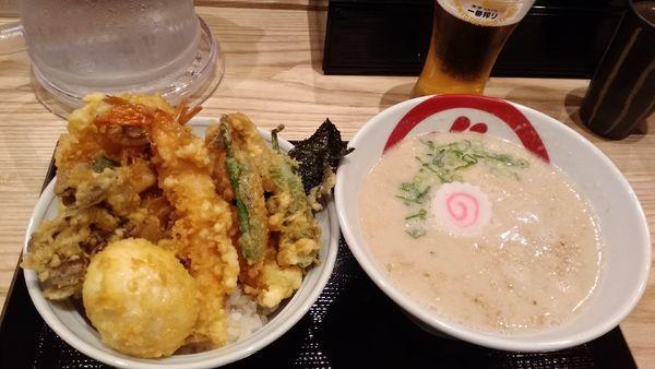 「天丼(上)と らぁ麺¥1630」@天丼・らぁ麺 ハゲ天の写真