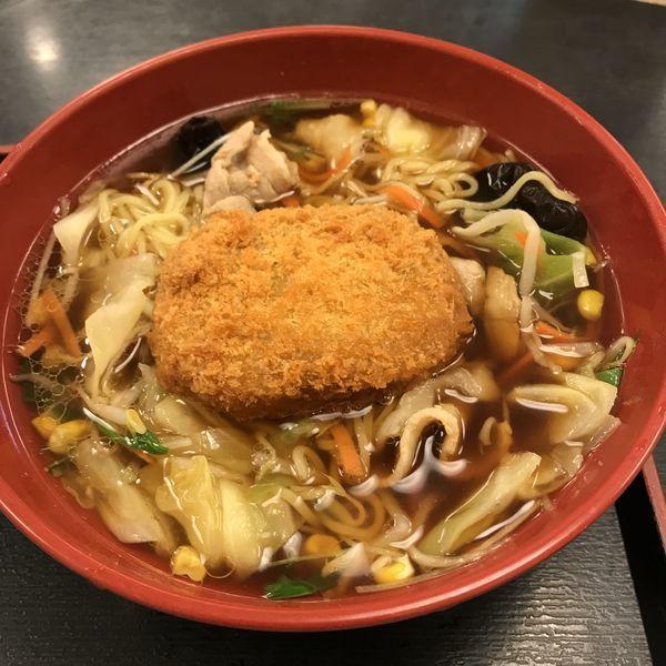 「野菜たっぷり中華そば(¥540)+コロッケ(クーポン)」@ゆで太郎 東五反田店の写真