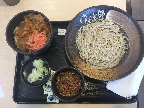 「【朝食セット】カレー丼+もりそば 360円」@ゆで太郎 入間宮寺店の写真