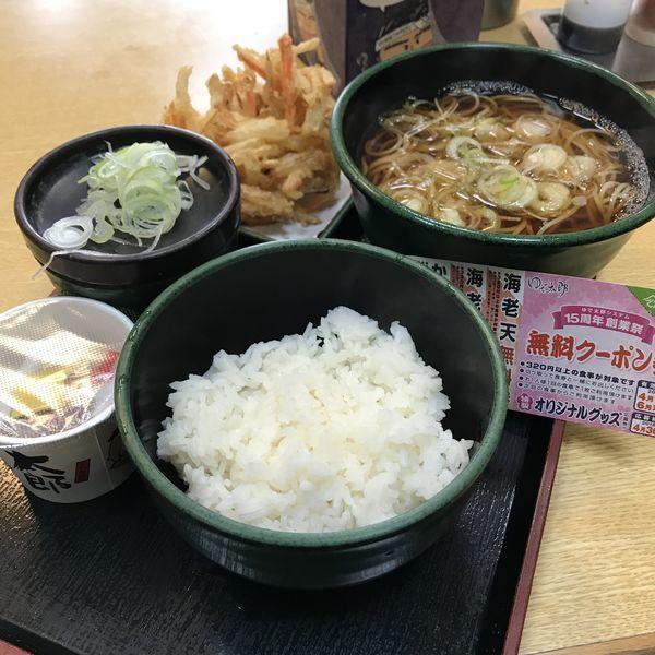 「朝食セット(納豆)(¥360)+かき揚げ(クーポン)」@ゆで太郎 高輪店の写真