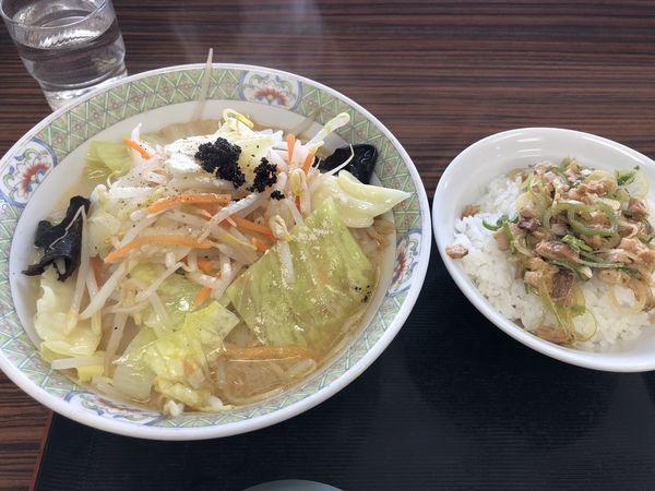 「俺のタンメン+ミニチャーシュー丼」@釈迦堂PA(下り) 釈迦堂ラーメン食堂の写真